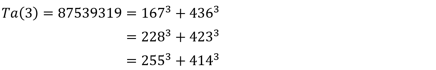 {\displaystyle {\begin{aligned}\operatorname {Ta} (3)=87539319&=167^{3}+436^{3}\\&=228^{3}+423^{3}\\&=255^{3}+414^{3}\end{aligned}}}